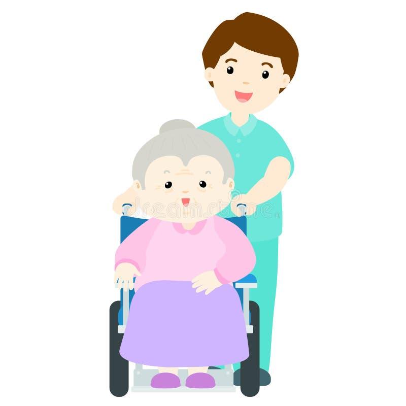 Ευτυχές grandma στη ιδιωτική κλινική απεικόνιση αποθεμάτων