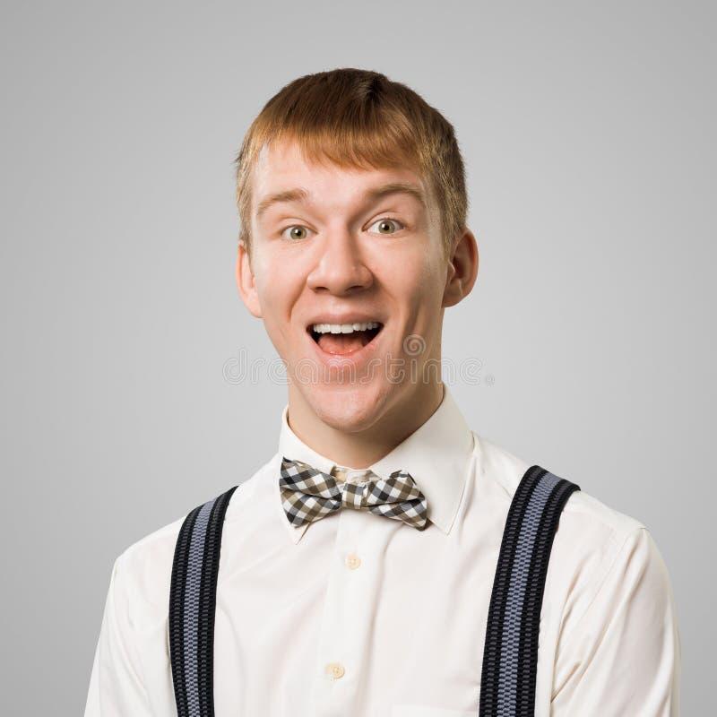 Ευτυχές hipster το στόμα που ανοίγουν με στοκ φωτογραφία με δικαίωμα ελεύθερης χρήσης