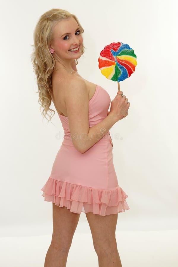 ευτυχές lollipop κοριτσιών στοκ φωτογραφίες με δικαίωμα ελεύθερης χρήσης