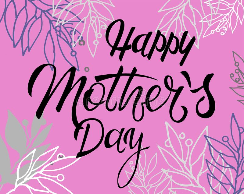 Ευτυχές Mother's καλλιγραφία χαιρετισμών ημέρας †«με τη floral διακόσμηση στο ιώδες υπόβαθρο ελεύθερη απεικόνιση δικαιώματος