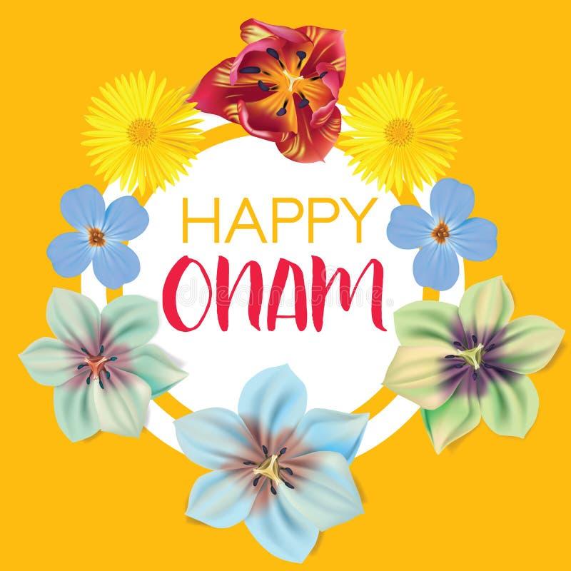 Ευτυχές Onam Χαιρετισμοί λουλουδιών για το νότιο ινδικό φεστιβάλ Onam επίσης corel σύρετε το διάνυσμα απεικόνισης ελεύθερη απεικόνιση δικαιώματος
