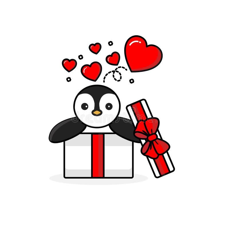 Ευτυχές penguin μέσα στο ανοικτό κιβώτιο δώρων με τις καρδιές μυγών διανυσματική απεικόνιση