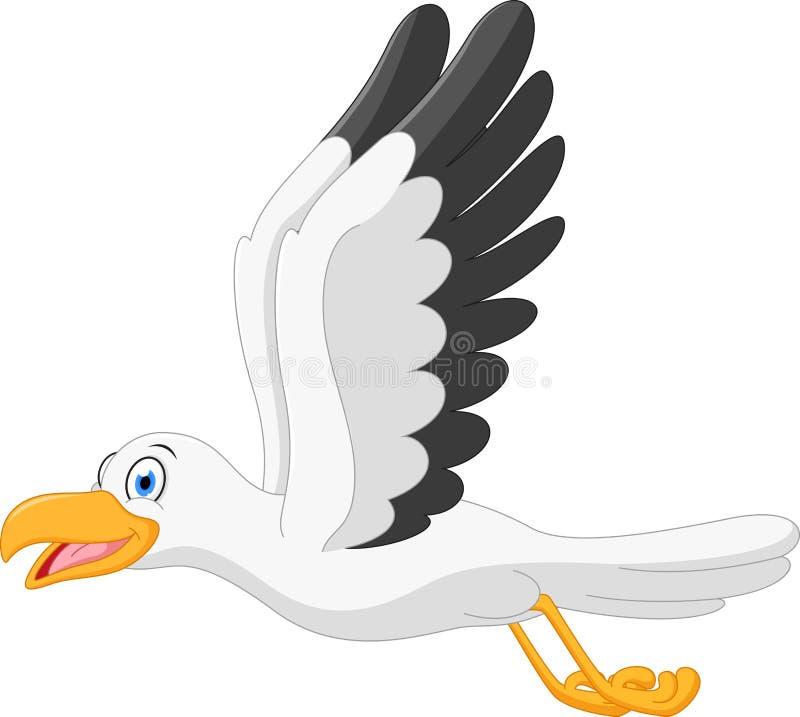 Ευτυχές seagull πέταγμα κινούμενων σχεδίων απεικόνιση αποθεμάτων