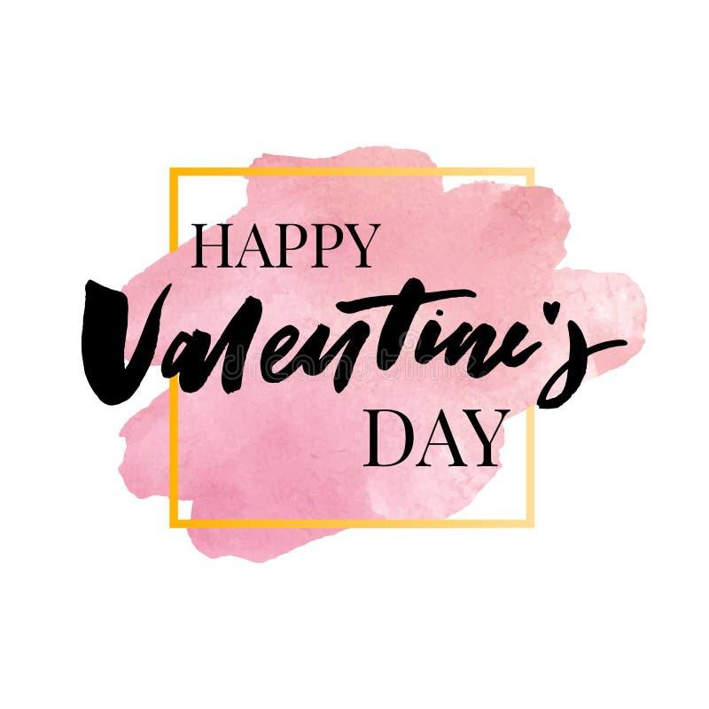 Ευτυχές Valentine' συρμένη εγγραφή βουρτσών ημέρας του s χέρι με τη μακριά σκιά, που απομονώνεται στο πλούσιο κόκκινο υπόβαθρ απεικόνιση αποθεμάτων