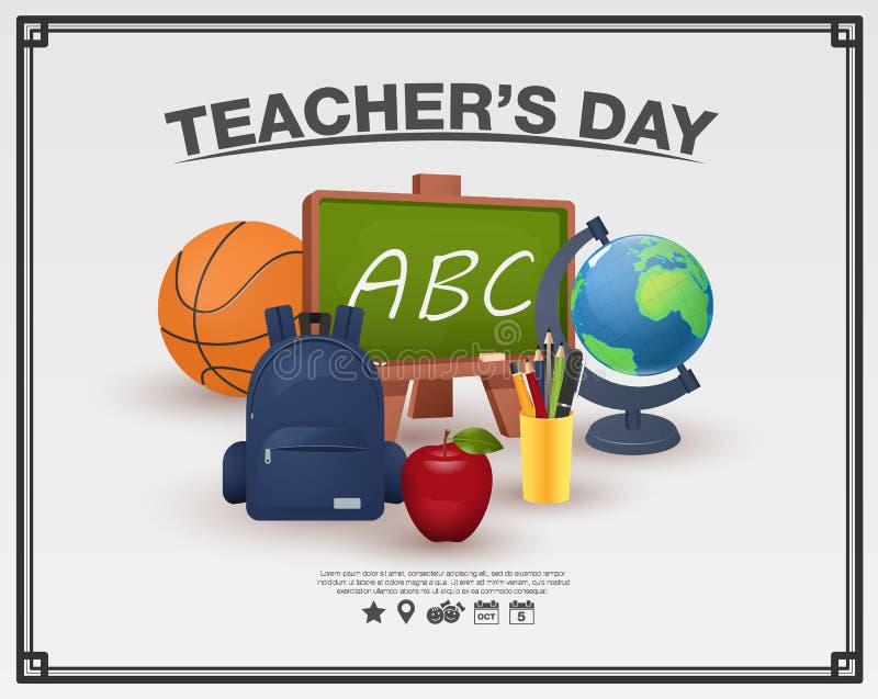 Ευτυχής έννοια αφισών ημέρας δασκάλων στο άσπρο υπόβαθρο που πλαισιώνεται διανυσματική απεικόνιση