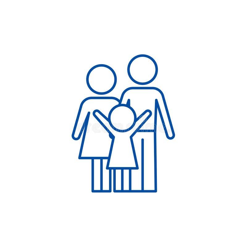Ευτυχής έννοια εικονιδίων οικογενειακών γραμμών Ευτυχές οικογενειακό επίπεδο διανυσματικό σύμβολο, σημάδι, απεικόνιση περιλήψεων διανυσματική απεικόνιση