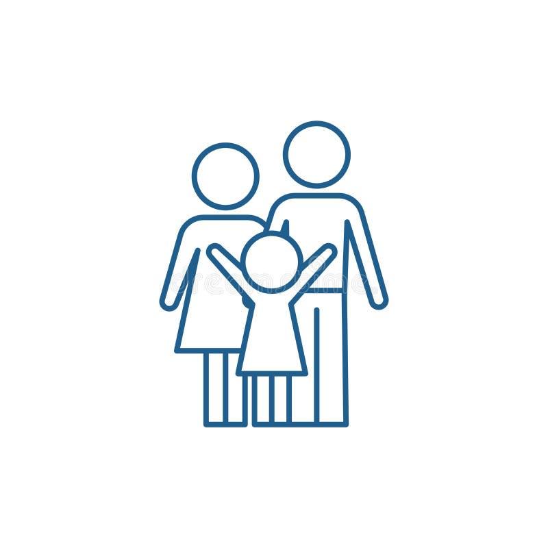 Ευτυχής έννοια εικονιδίων οικογενειακών γραμμών Ευτυχές οικογενειακό επίπεδο διανυσματικό σύμβολο, σημάδι, απεικόνιση περιλήψεων απεικόνιση αποθεμάτων