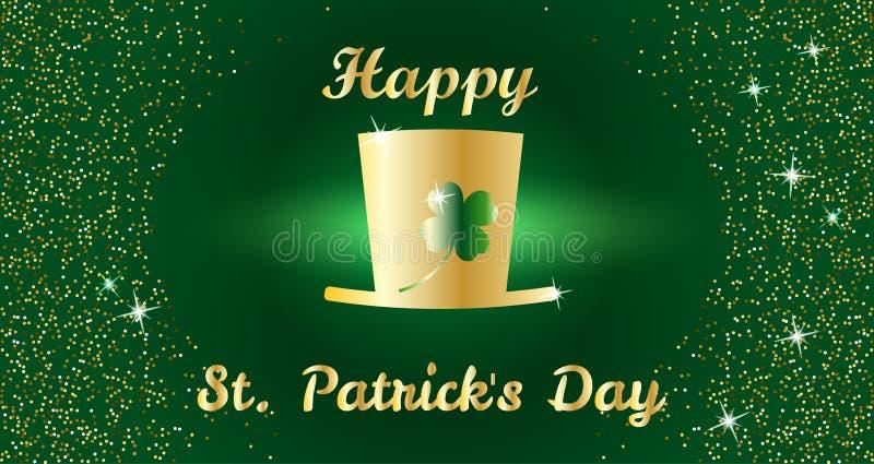 Ευτυχής έννοια εορτασμού ημέρας του ST Πάτρικ ` s με το χρυσό καπέλο, το τριφύλλι και την τυπογραφία εγγραφής σε ένα πράσινο υπόβ διανυσματική απεικόνιση