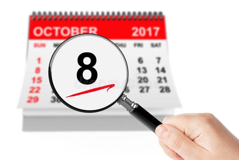 Ευτυχής έννοια ημέρας του Columbus 8 Οκτωβρίου 2017 ημερολόγιο με Magnifi στοκ εικόνες