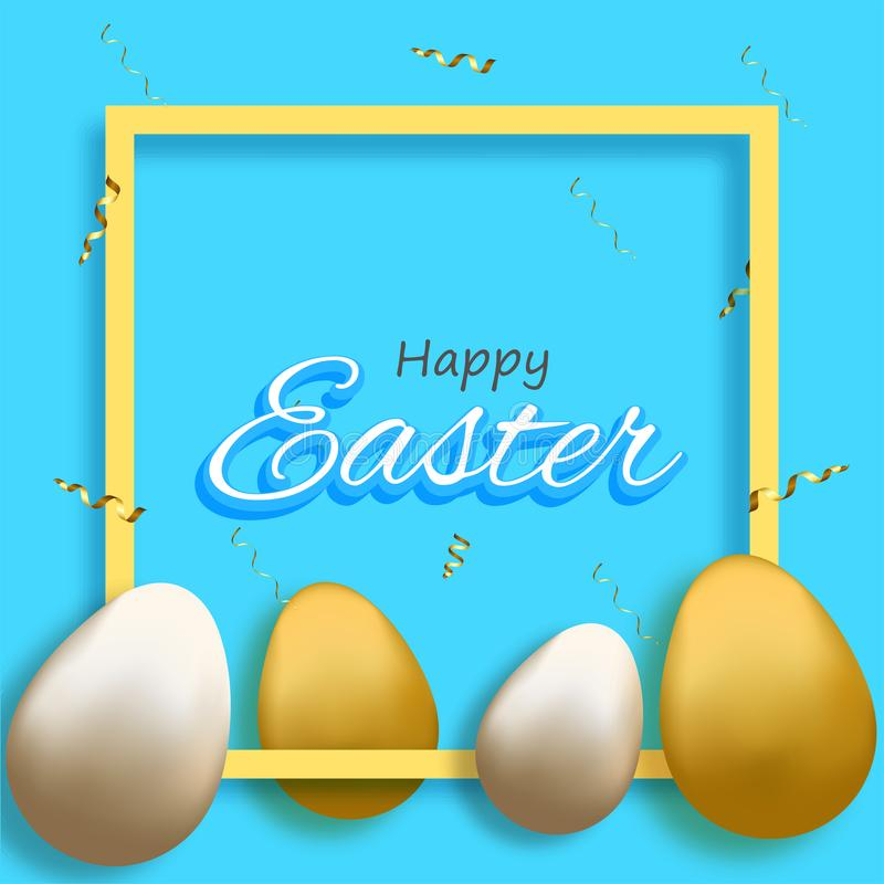 Ευτυχής έννοια Πάσχας με τα λαμπρά χρυσά και ασημένια αυγά απεικόνιση αποθεμάτων
