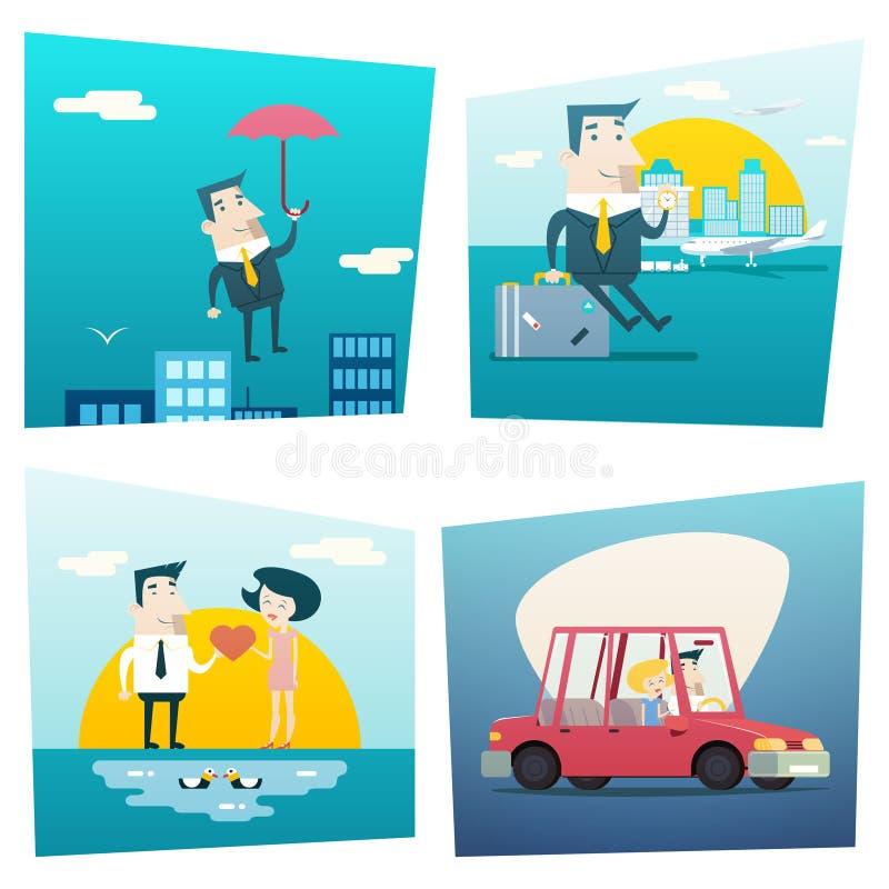Ευτυχής έννοια τρόπου ζωής ταξιδιού αγάπης χαρακτήρα επιχειρηματιών κινούμενων σχεδίων του προγραμματισμού του τουρισμού διακοπών απεικόνιση αποθεμάτων
