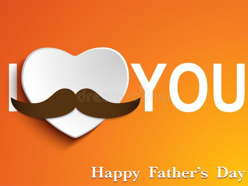 Ευτυχής αγάπη Mustache ημέρας πατέρων ελεύθερη απεικόνιση δικαιώματος