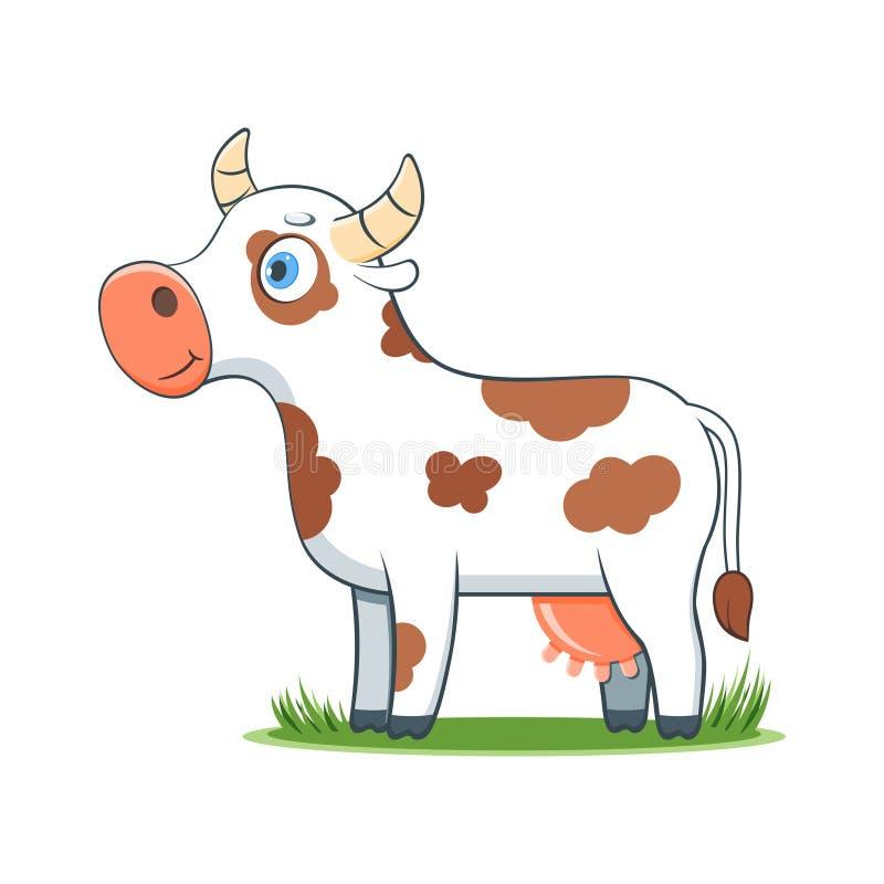 Ευτυχής αγελάδα κινούμενων σχεδίων ελεύθερη απεικόνιση δικαιώματος