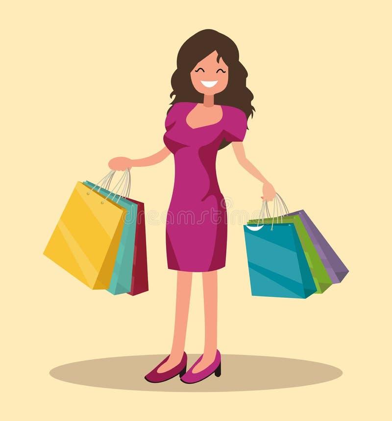 ευτυχής αγοραστής Το κορίτσι κρατά τις συσκευασίες μεγάλη πώληση διανυσματική απεικόνιση