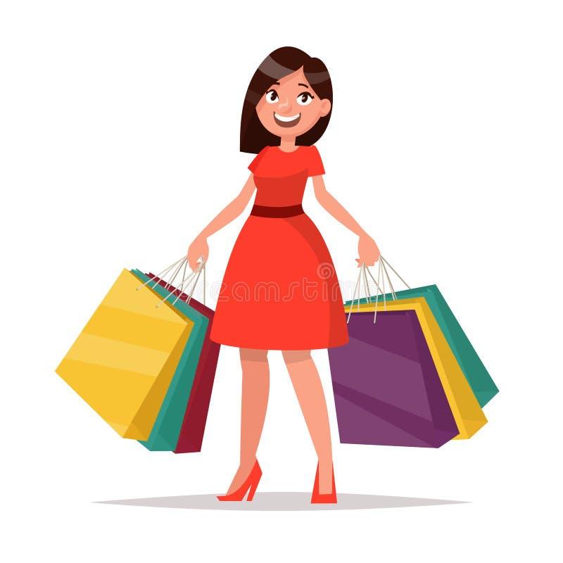 ευτυχής αγοραστής Το κορίτσι κρατά τις συσκευασίες μεγάλη πώληση Διάνυσμα illustr διανυσματική απεικόνιση