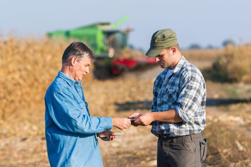 Ευτυχής αγρότης μετά από τη συγκομιδή του καλαμποκιού στοκ φωτογραφία με δικαίωμα ελεύθερης χρήσης