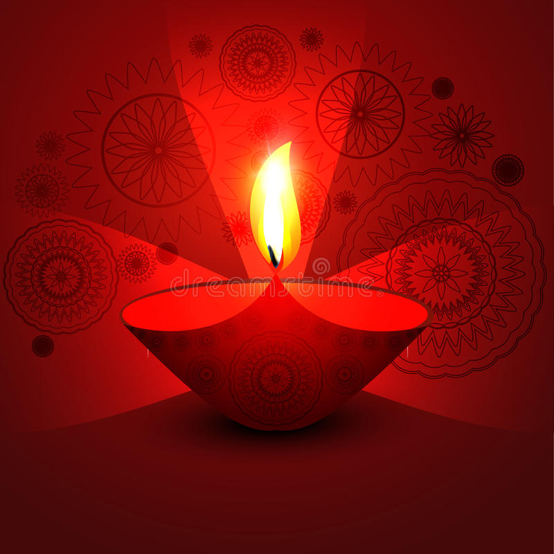 Ευτυχής λαμπρός όμορφος diwali  διανυσματική απεικόνιση