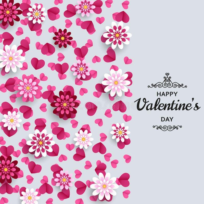 Ευτυχής ανασκόπηση ημέρας βαλεντίνων Καλό πρότυπο σχεδίου για το έμβλημα, ευχετήρια κάρτα, ιπτάμενο Λουλούδια και καρδιές τέχνης  ελεύθερη απεικόνιση δικαιώματος