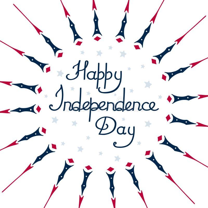 Ευτυχής ανεξαρτησία της Αμερικής ημέρας, σε ένα άσπρο υπόβαθρο, περίληψη, με τα αστέρια απεικόνιση αποθεμάτων