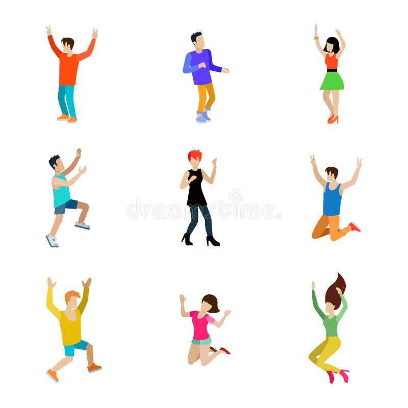 Ευτυχής ανθρώπων χορεύοντας ατόμων διανυσματική απεικόνιση ύφους εικονιδίων καθορισμένη επίπεδη ελεύθερη απεικόνιση δικαιώματος