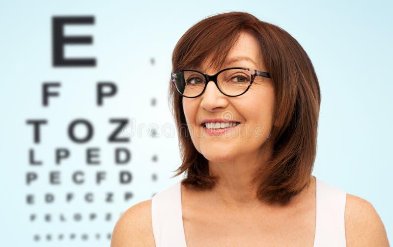 Ευτυχής ανώτερη γυναίκα στα γυαλιά πέρα από το διάγραμμα δοκιμής ματιών στοκ εικόνες