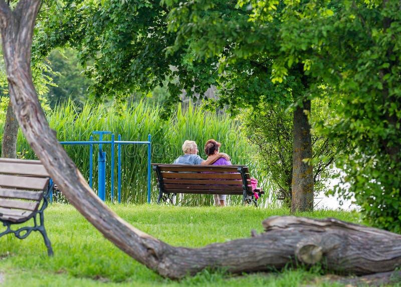Ευτυχής ανώτερη συνεδρίαση ζευγών στον πάγκο στο πάρκο Άνδρας και γυναίκα που στηρίζονται από τη λίμνη στοκ εικόνες