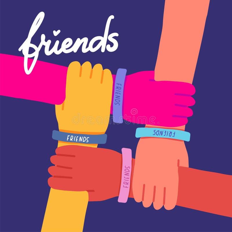 Ευτυχής απεικόνιση ημέρας φιλίας Ζωηρόχρωμα τέσσερα χέρια που διασχίζονται μαζί στο σκούρο μπλε υπόβαθρο Διανυσματική απεικόνιση ελεύθερη απεικόνιση δικαιώματος