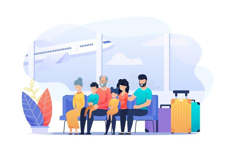 Ευτυχής απεικόνιση κινούμενων σχεδίων κινήτρου οικογενειακού ταξιδιού ελεύθερη απεικόνιση δικαιώματος