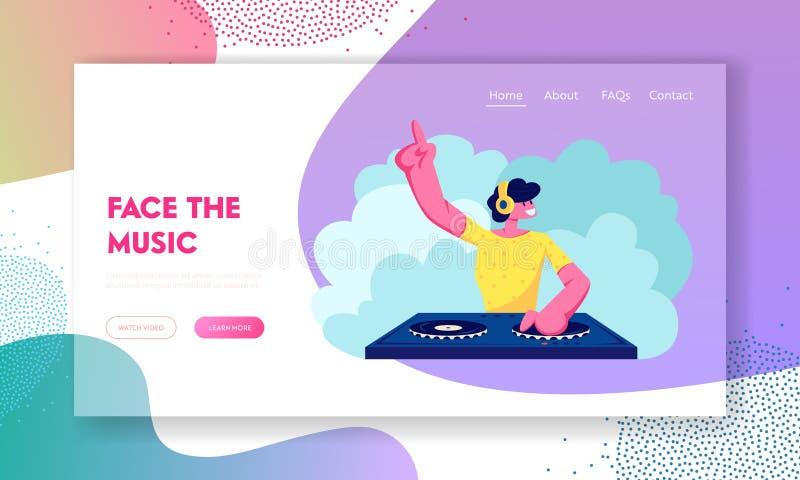 Ευτυχής αρσενικός χαρακτήρας του DJ που παίζει και που αναμιγνύει τη λέσχη Disco μουσικής τη νύχτα ή το κόμμα παραλιών Διασκέδαση απεικόνιση αποθεμάτων