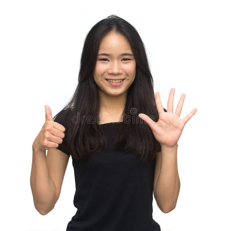 Ευτυχής ασιατικός υπολογισμός κοριτσιών σε έξι στοκ εικόνες με δικαίωμα ελεύθερης χρήσης