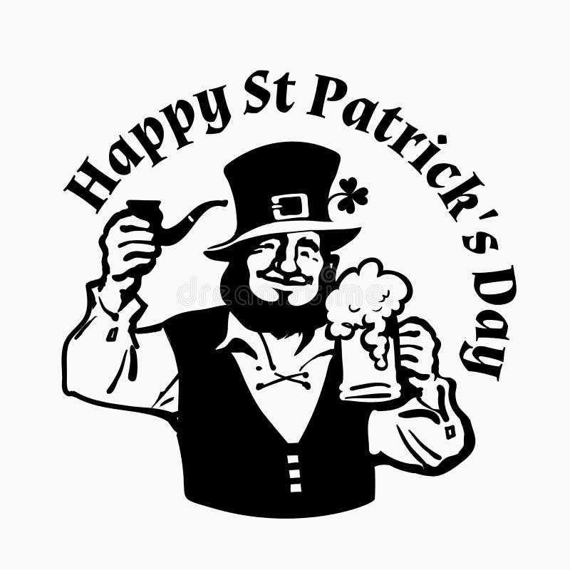 ευτυχής αφίσα ημέρας του ST patricks Χαρακτήρας Leprechaun στο παραδοσιακό ιρλανδικό κοστούμι με την κούπα και το σωλήνα μπύρας σ ελεύθερη απεικόνιση δικαιώματος