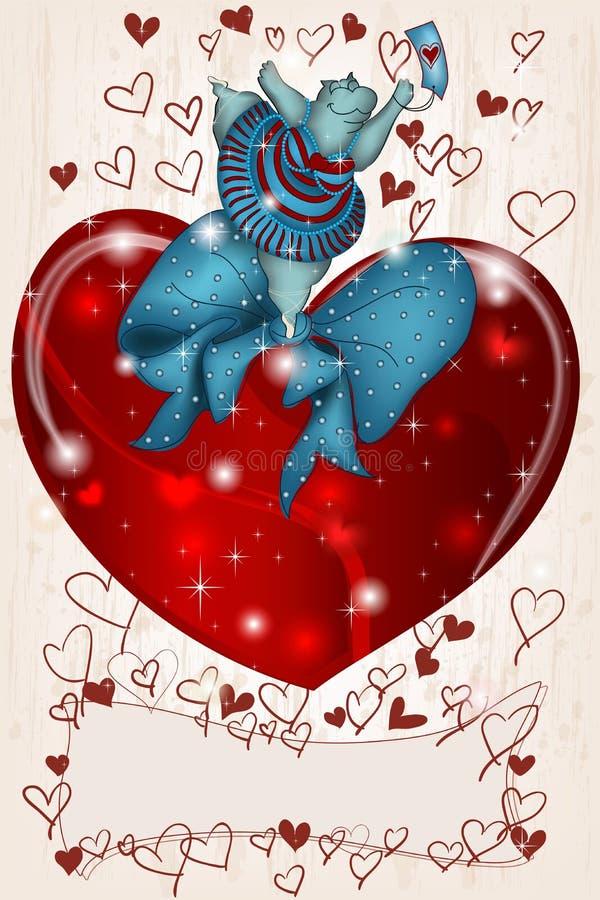 Ευτυχής βαλεντίνος Hippo με την καρδιά και την κορδέλλα ελεύθερη απεικόνιση δικαιώματος