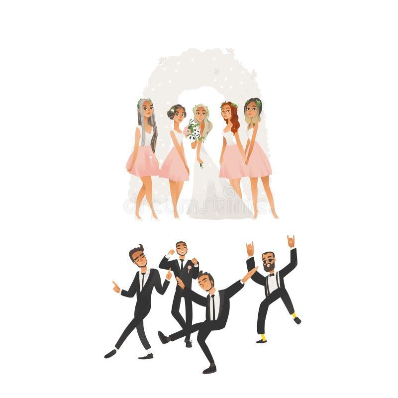 Ευτυχής γαμήλια τελετή στην εθιμοτυπική αψίδα στο επίπεδο ύφος κινούμενων σχεδίων ελεύθερη απεικόνιση δικαιώματος