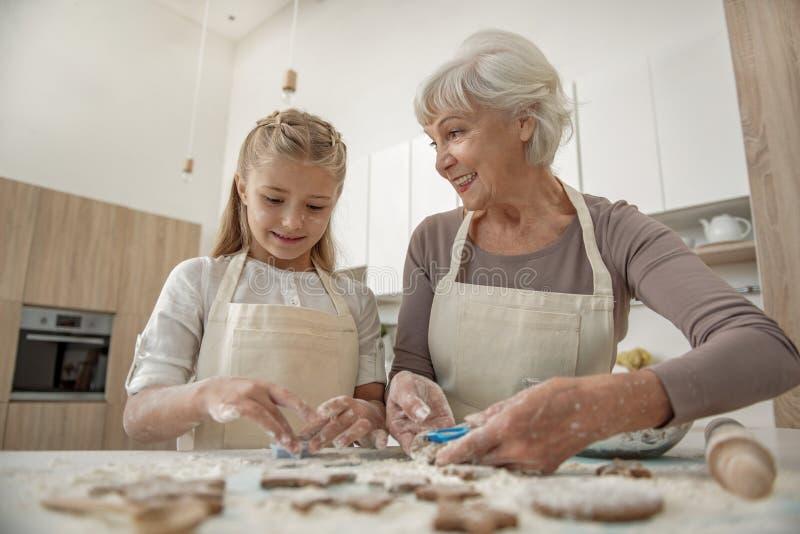 Ευτυχής γιαγιά που απολαμβάνει τη διαδικασία ψησίματος με την εγγονή της στοκ εικόνες