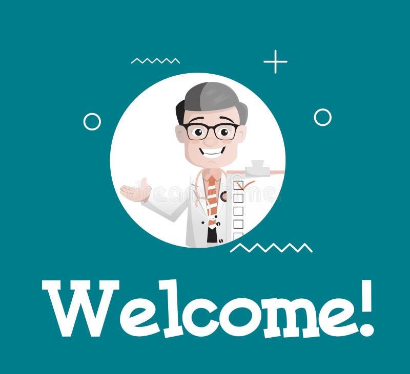 Ευτυχής γιατρός κινούμενων σχεδίων που κάνει την ευπρόσδεκτη διανυσματική απεικόνιση χαιρετισμού ελεύθερη απεικόνιση δικαιώματος