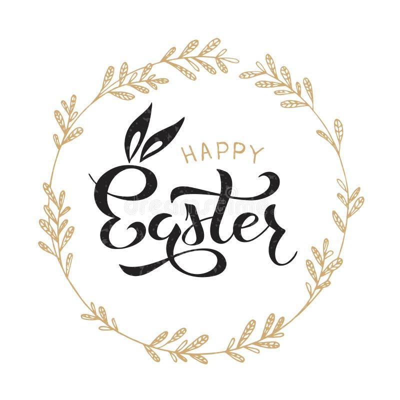 Ευτυχής γράφοντας κάρτα εορτασμού Πάσχας απεικόνιση αποθεμάτων