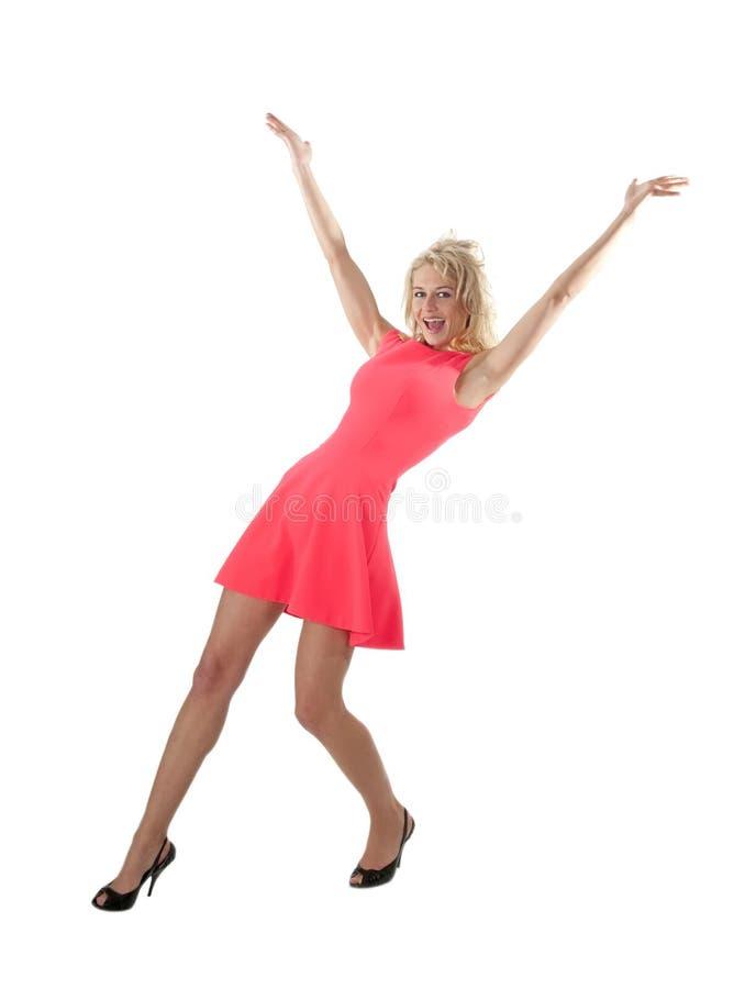 Ευτυχής γυναίκα ενθαρρυντική στοκ εικόνες με δικαίωμα ελεύθερης χρήσης