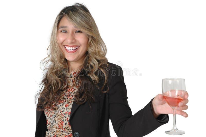 ευτυχής γυναίκα κρασι&omicron στοκ εικόνα