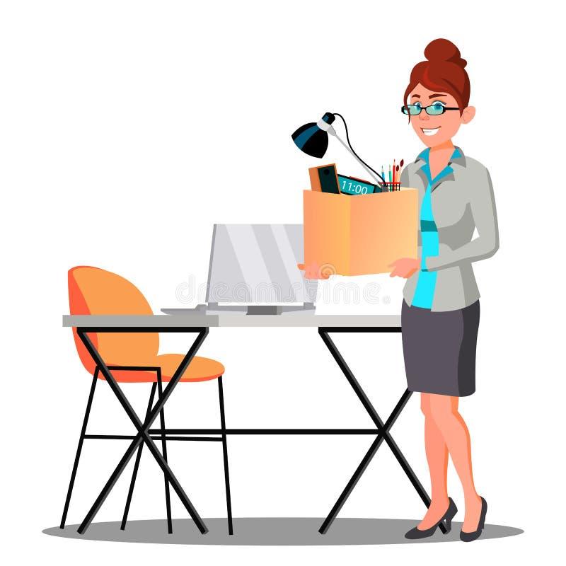 Ευτυχής γυναίκα με το κιβώτιο με τα πράγματα κοντά στον πίνακα που παίρνει ένα νέο διάνυσμα εργασίας απομονωμένη ωθώντας s κουμπι απεικόνιση αποθεμάτων