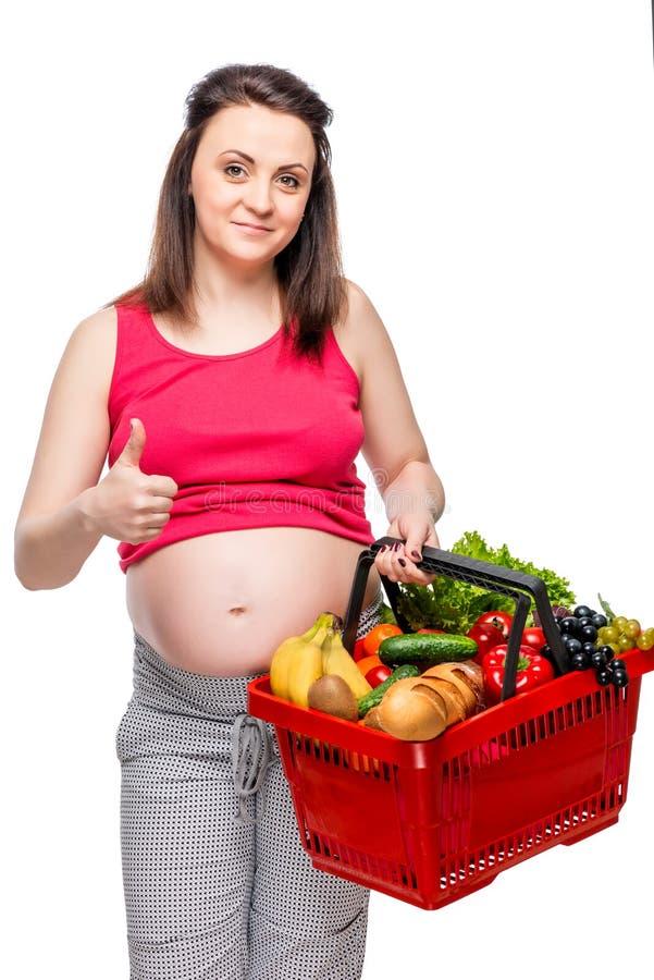 Ευτυχής γυναίκα με το σύνολο κάρρων αγορών των χρήσιμων προϊόντων στο λευκό στοκ φωτογραφία με δικαίωμα ελεύθερης χρήσης