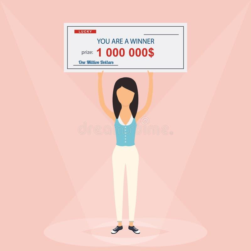 Ευτυχής γυναίκα που κρατά το μεγάλο έλεγχο ένα εκατομμύριο δολαρίων στα χέρια διανυσματική απεικόνιση