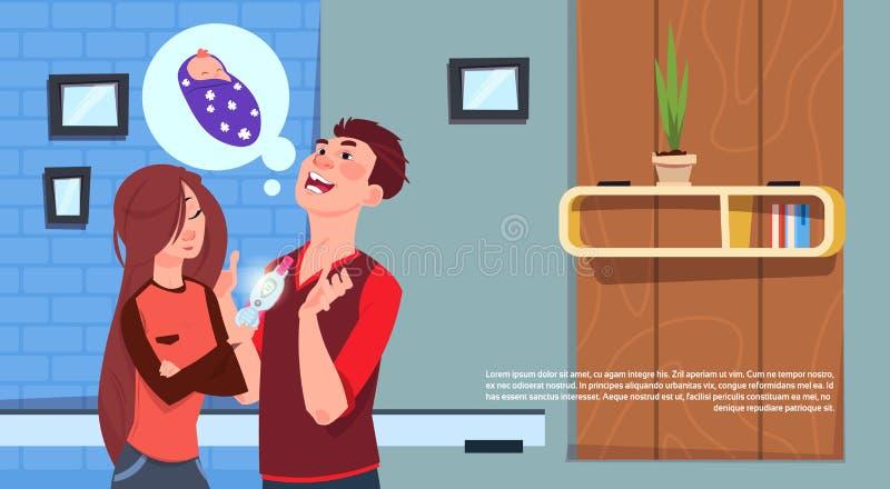 Ευτυχής γυναίκα που παρουσιάζει στον άνδρα θετική δοκιμή εγκυμοσύνης νέα πατρότητα οικογενειακού προγραμματισμού διανυσματική απεικόνιση