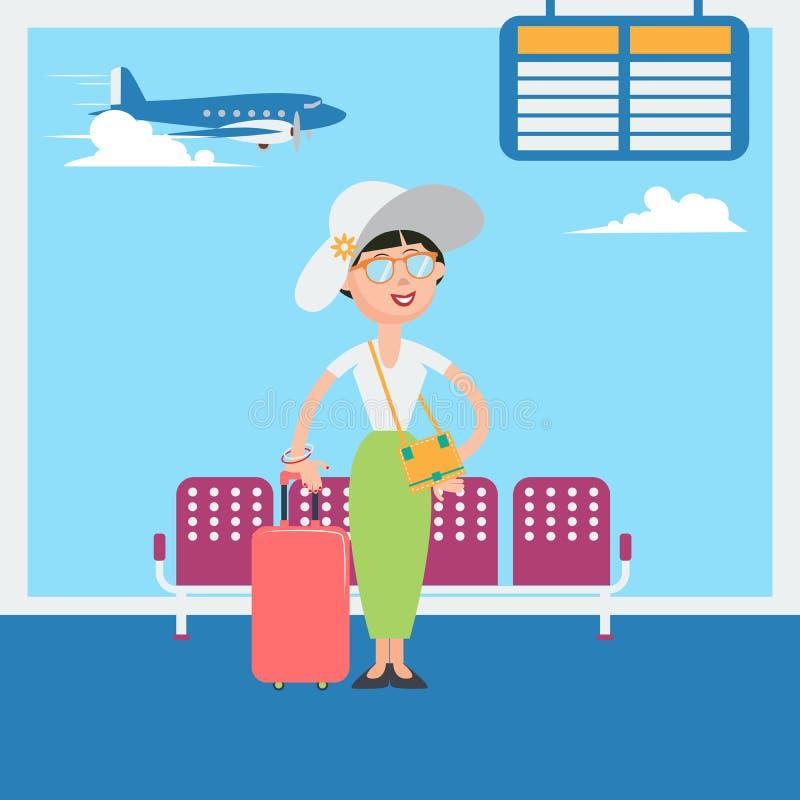 Ευτυχής γυναίκα που περιμένει στην αναχώρηση στις διακοπές στον αερολιμένα απεικόνιση αποθεμάτων