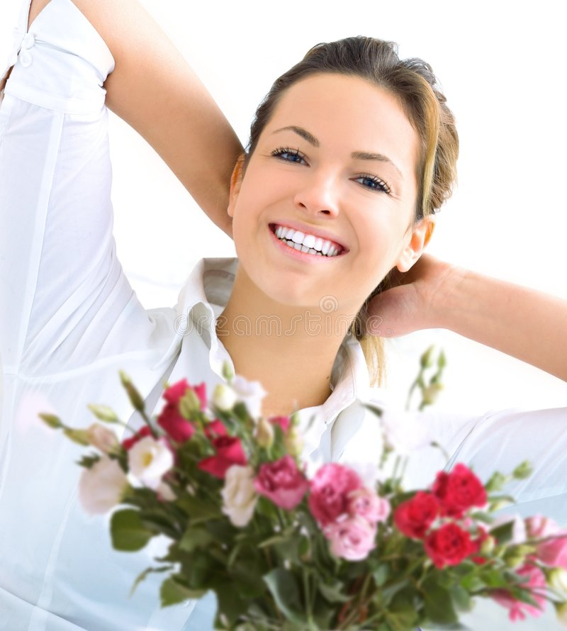 ευτυχής γυναίκα τριαντάφυλλων στοκ φωτογραφία