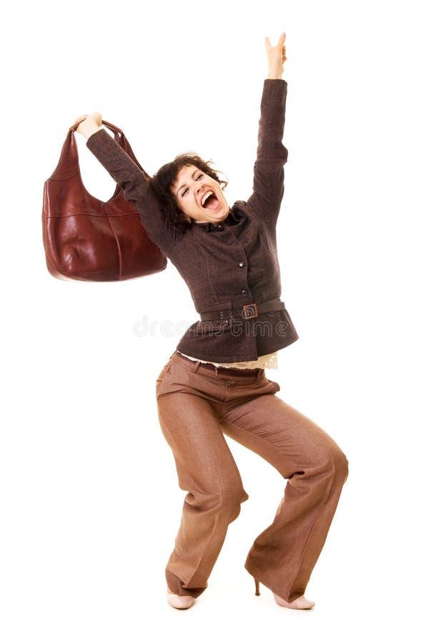 ευτυχής γυναίκα τσαντών στοκ φωτογραφία με δικαίωμα ελεύθερης χρήσης