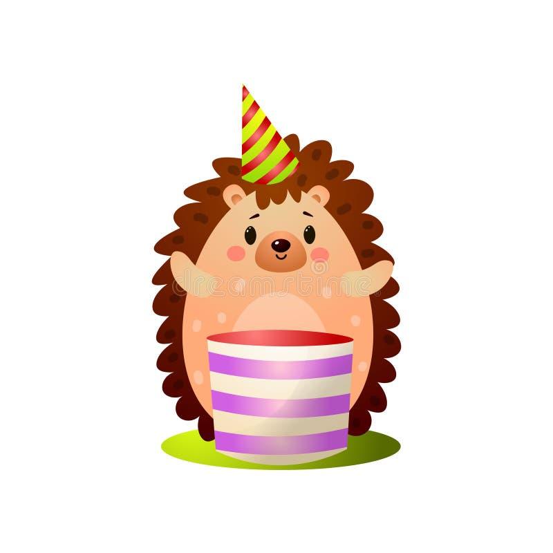 Ευτυχής δασική γιορτή γενεθλίων πλούσιων σκαντζόχοιρων με το μεγάλο κέικ ελεύθερη απεικόνιση δικαιώματος