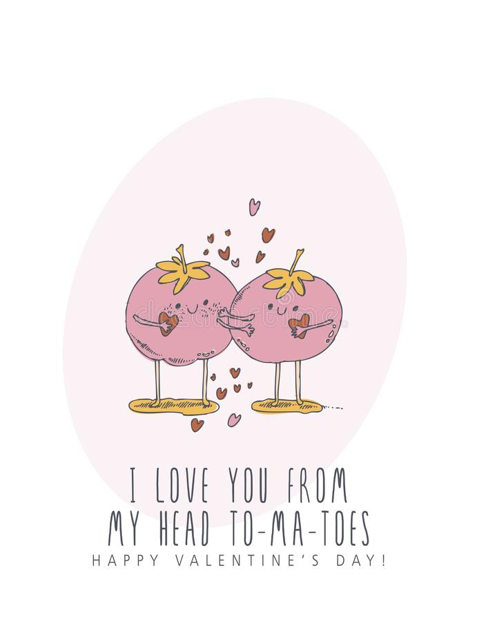 Ευτυχής δημιουργική διανυσματική ευχετήρια κάρτα ημέρας βαλεντίνων με το χαριτωμένο χαρακτήρα στο ύφος τέχνης γραμμών Αφίσα αγάπη απεικόνιση αποθεμάτων