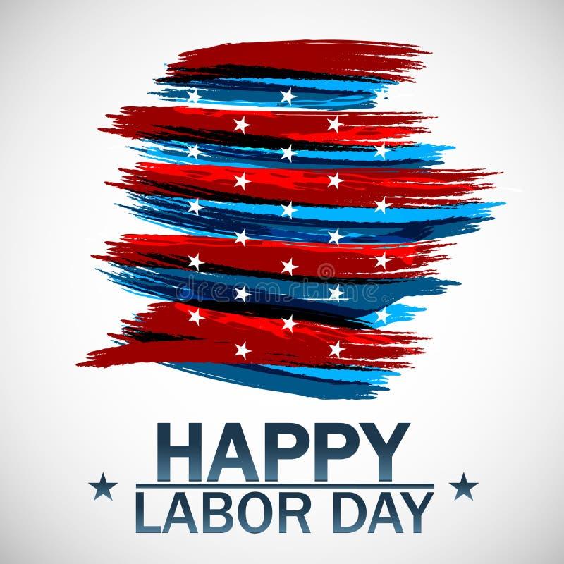 Ευτυχής διανυσματική απεικόνιση Εργατικής Ημέρας Όμορφη ΑΜΕΡΙΚΑΝΙΚΗ σημαία στο άσπρο υπόβαθρο επίσης corel σύρετε το διάνυσμα απε διανυσματική απεικόνιση