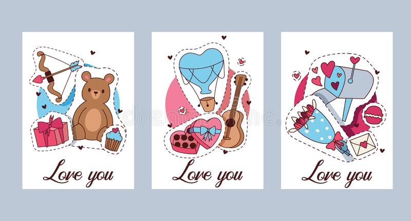 Ευτυχής διανυσματική απεικόνιση ημέρας βαλεντίνων Σύνολο ρομαντικής ευχετήριας κάρτας βαλεντίνων, πρόσκληση, πρότυπα αφισών Αγάπη διανυσματική απεικόνιση