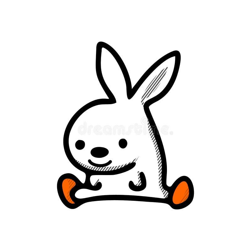 Ευτυχής διανυσματική απεικόνιση λαγουδάκι Πάσχας Χαριτωμένος χαρακτήρας κινουμένων σχεδίων κουνελιών διανυσματική απεικόνιση
